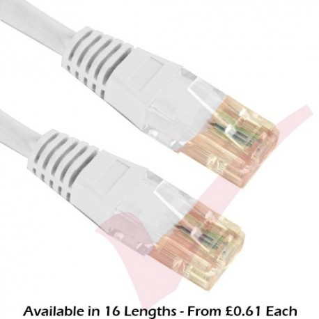 Cat5e Patch Cables RJ45 UTP High Grade PVC Flush Booted White