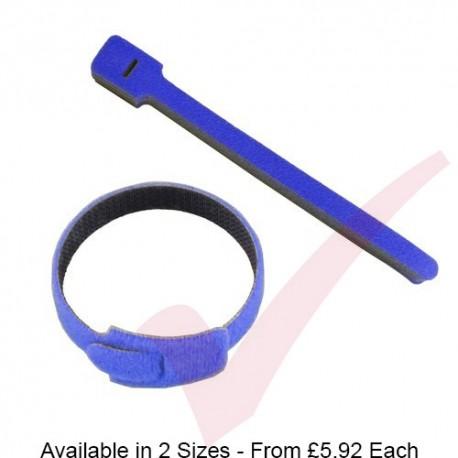 Blue Hook & Loop Velcro Cable Ties 20 Pack