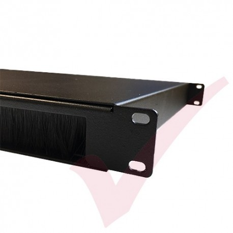 1U 19 inch Cable Pass Through Management Panel - Black
