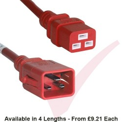 C19 to C20 'P-Lock' Power Cable Red