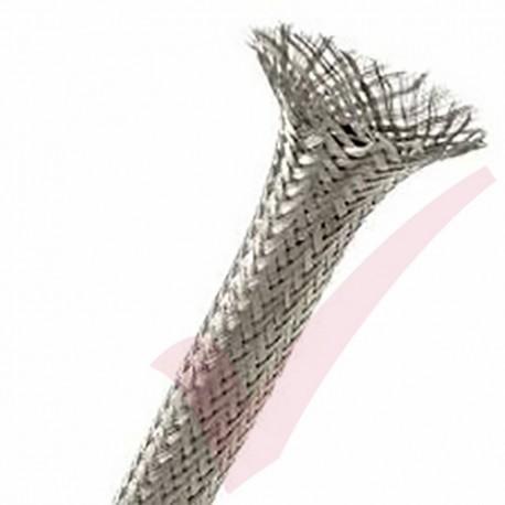 100 Metre Grey - Halogen Free Braid Sleeving 2-7mm (10mm Flat)