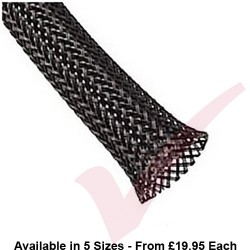 25 Metre Black - Halogen Free Braid Sleeving