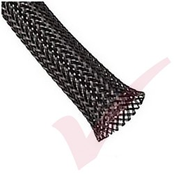 50 Metre Black - Halogen Free Braid Sleeving 8-17mm (25mm Flat)