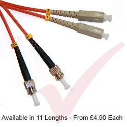 SC to ST Fibre Patch Cables OM3 Multimode Duplex Orange