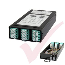 Zettonics MTP/MPO LC OM4 Multimode 12 Duplex Fibre 2x MTP Cassette Aqua (Polarity A/C)