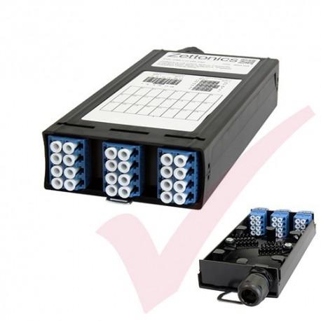 Zettonics LC OS2 Singlemode 12 Duplex Unloaded Fibre Cassette Blue