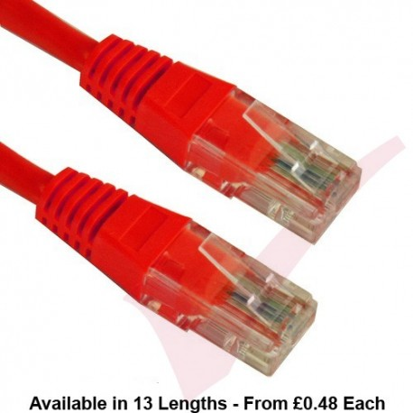 Cat5e Patch Cables Enhanced RJ45 UTP PVC Flush Booted Red