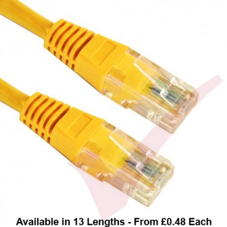 Cat5e Patch Cables Enhanced RJ45 UTP PVC Flush Booted Yellow