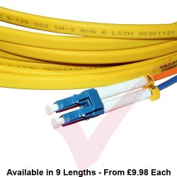 OS2 LC to LC Flat Twin Ruggedised Fibre Cable Yellow