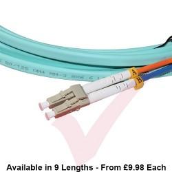OM4 LC to LC Flat Twin Ruggedised Fibre Cable Aqua Blue