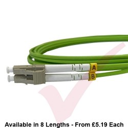 LC to LC Fibre Patch Cables OM5 Multimode Duplex Lime Green
