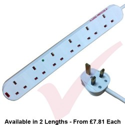 White - 6 Way Socket Gang Block Surge and Spike Protected Extension Lead