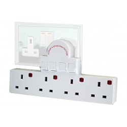 4 Socket Individually Switched & Surge Protected Direct Plug Extension Block