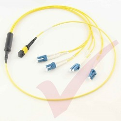 1.0 Metre Yellow - MTP(F) 4x LC Duplex OS2 on 12 Core Fibre Mini Breakout Harness (fan out) Assembly