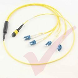 1.0 Metre Yellow - MTP(F) 4x LC Duplex OS2 on 12 Core Fibre Mini Breakout Harness (fan out) Assembly