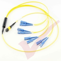 1.0 Metre Yellow - MTP(F) 4x SC Duplex OS2 on 12 Core Fibre Mini Breakout Harness (fan out) Assembly