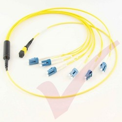 1.0 Metre Yellow - MTP(F) 6x LC Duplex OS2 on 12 Core Fibre Mini Breakout Harness (fan out) Assembly