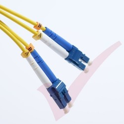 1.0 Metre Yellow LC - LC OS1 Singlemode Fibre Patch Lead 9/125, Enhanced LS0H 2.8mm Sheath