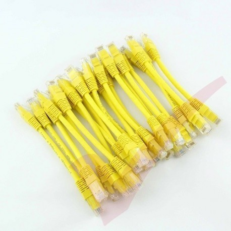 24 Pack of 20cm (8-inch) in Yellow - Cat5e High Grade 125MHz 24AWG LSZH Patch Lead for 2U Patching