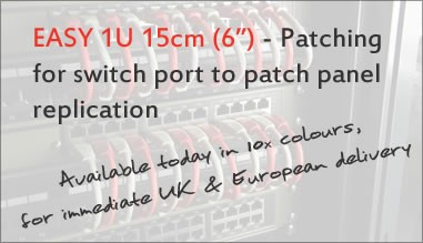 "Easy 1U 15cm (6"") Patching for switch port to patch panel replication"